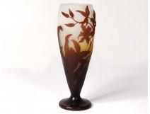 Emile Gallé glass paste vase flowers orchids foliage Art Nouveau XIXth