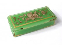 Green opaline paperweight Baccarat gilding flowers box snuff box nineteenth