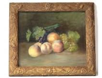 Pastel painting Emma Gardel still life fruit grapes peach nineteenth twentieth