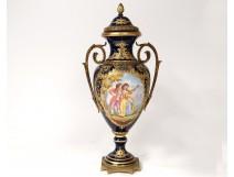 Cassolette vase pot covered porcelain Sèvres scene gallant gilt bronze 19th