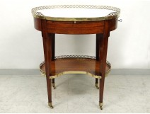 Coffee table oval Louis XVI mahogany white marble gilded brass eighteenth
