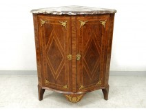 Corner cabinet marquetry wood rose satin bronze marble eighteenth century