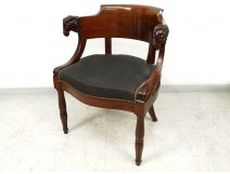 Jacob mahogany desk chair carved heads rams I Empire nineteenth