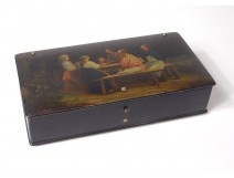 Russian lacquered wood cabinet box Lukutin characters table landscape nineteenth