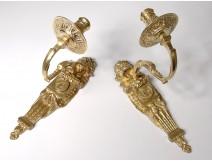 Pair Louis XVI arms light golden bronze gilded profile antique lion 18th