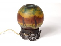 Night light ball glass Deveau landscape boat wrought iron Art Nouveau XIXth