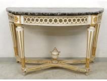Console half moon Louis XVI carved wood lacquered openwork gray marble eighteenth