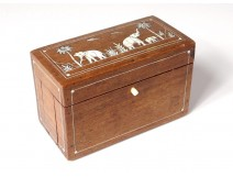 Box box with cigarettes rosewood inlay elephants palms nineteenth