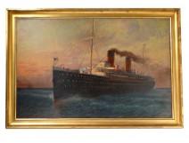 Great HSP marine painting E. d'Argence liner La Provence Atlantique 1908