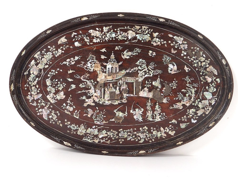 Oval tray wood mother of pearl flowers butterflies