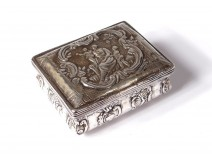 Small sterling silver box Netherlands antique woman children peacocks cow nineteenth