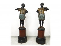 Pair Nubian flares wood carved polychrome Italy XIXth century