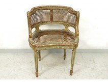Louis XVI caned office armchair carved gilded Napoleon III nineteenth