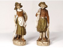 2 characters porcelain Royal Dux Bohemia fisherman woman Art Nouveau XIXth