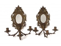 Pair wall sconces Louis XIV 3 lights bronze mirror Napoleon III nineteenth