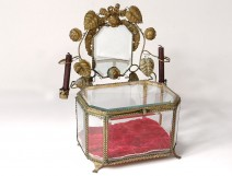 Large jewelry box ice candlesticks brass glass beveled Napoleon III 19th