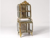 Jewelry box double brass box gold beveled glass Napoleon III nineteenth