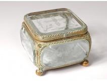Jewel box box gilded brass beveled glass engraved Napoleon III nineteenth