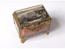 Jewel box box gilded brass beveled glass engraved Napoleon III nineteenth