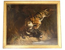 Great HST painting buffalo surprised by tiger from ap. Charles Verlat nineteenth