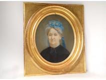 Pastel portrait woman Adele Besqueut Forges Kerino Vannes Brittany nineteenth