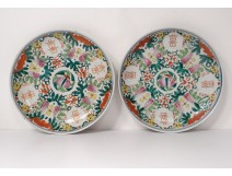 Pair porcelain dishes Company India Bat batches signed 19th
