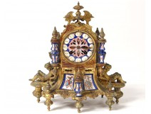Gothic clock gilt bronze porcelain knights clock Napoleon III nineteenth