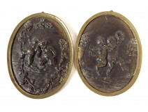 Pair bronze bas-relief medallions Clodion Amours Putti satyr Bacchus nineteenth