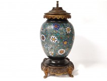 Lamp vase baluster bronze cloisonné enamels China elephants flowers nineteenth