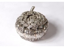 Small box round sterling silver foreign flowers foliage silver twentieth