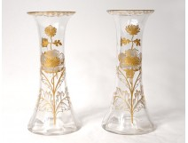 Pair vases glass gilding flowers foliage nineteenth century