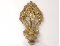 Stoup of gilded bronze cross angels snake shell XVIII