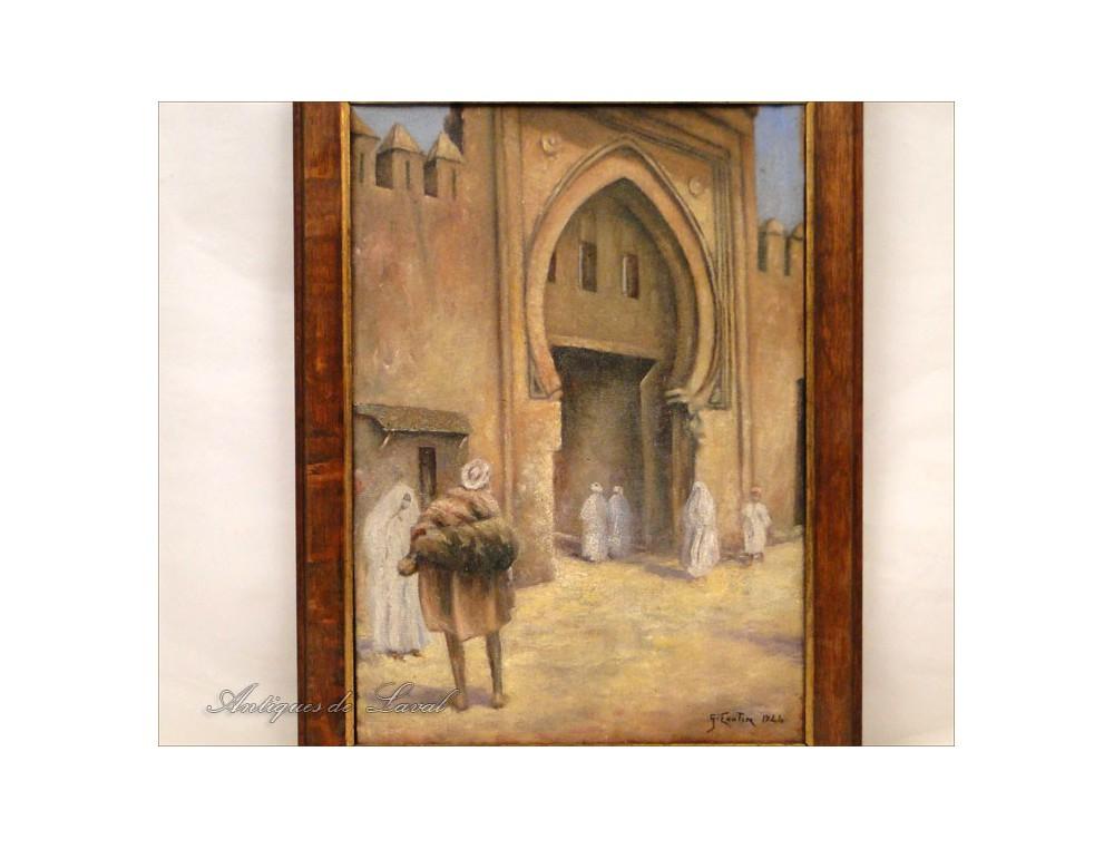 Hst Orientalist Painting Door Rabat Morocco Nineteenth