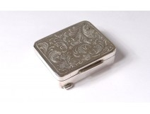 Small pill box sterling silver flowers foliage silver 34gr twentieth