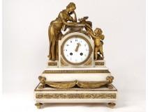 Pendulum Louis XVI white bronze bronze Pleureuse bird back Love XVIIIè