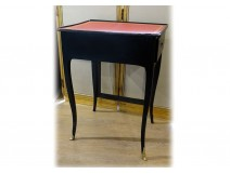 Writing table with Louis XV screen black lacquered wood leather red nineteenth century