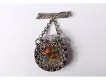 Pin pendant perfume bottle silver metal embroidery flowers nineteenth