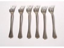 6 oyster forks silver plated goldsmith Christofle twentieth century