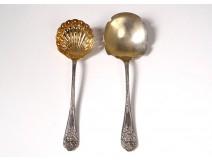 Shovel with strawberry sugar spoon sprinkle gold plated silver cherub twentieth