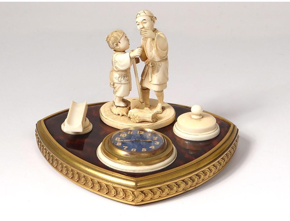 Pendulette Sculpté Personnages Bronze Encrier Ivoire Asiatiques 0wPnOk8