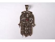Pendant Khamsa Main Fatma silver vermeil ruby North Africa Maghreb nineteenth