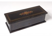 Blackened wood glove box marquetry gilded brass Napoleon III 19th century