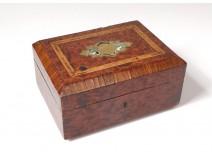 Jewelry box magnifying box thuya brass inlay Napoleon III nineteenth