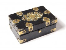 Small box blackened wood box gilded brass monogram nineteenth century