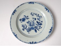 Hollow plate porcelain plate Company India white-blue flowers Kangxi 18th