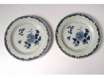 2 plates china china company India white blue bamboo flowers Kangxi 18th