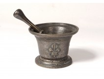 Apothecary mortar pestle bronze bronze flowers lily knocker XVIIth century