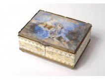 Box painted miniature box gallant scene couple wood nineteenth century