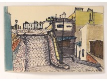 Pastel drawing Karin Van Leyden view Paris Montmartre 1950 20th century