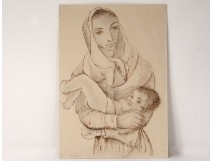 Drawing pencil Karin Van leyden portrait woman mother child Portugal 1931 XXth